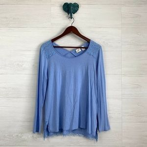 Chicos SZ 1 Periwinkle Blue Lace Overlay Top *FLAW